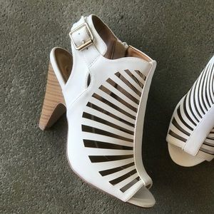 "DELICIOUS Shoes - Restock! Delicious White Strappy 3.75"" Heel Sandal"